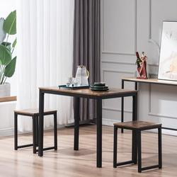 Kitchen Table Set, YOFE Modern Dining Room Table Sets, 3 Piece Kitchen Table Set w/ 2 Stools, Small Dining Table Sets for 2, Metal Frame Kitchen Table Set with Chair for Small Space, Fire Wood, R3573