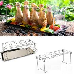 1pc Stainless Steel Chicken Wing Leg Rack Grill Holder Rack with Drip Pan for BBQ Multi-Purpose Chicken Leg Oven Grill Rack