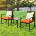 Outdoor 3-Piece Dialog Bistro Set Black Wicker Furniture-Two Chairs with Glass Coffee Table Orange