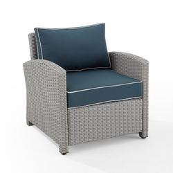 Crosley Furniture Bradenton All Weather Resin Wicker Outdoor Lounge Chair - Navy