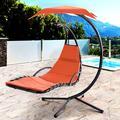 Vongrasig Outdoor Hanging Hammock Chaise Lounge, Freestanding Curved Steel Hammock Swing Chair for Garden Backyard Poolside (Orange)