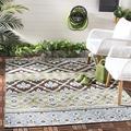 "Safavieh Veranda Collection VER097 Boho Indoor/ Outdoor Area Rug, 6'7"" x 9'6"", Chocolate / Blue, 100% Polypropelene By Visit the Safavieh Store"