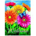 """Welcome Butterfly Flowers Sunflower Daisy Garden Yard Flag 12"""" x 18"""" Double Sided, Summer Flowers Spring Butterfly Decorative Garden Flag Banner for Outdoor Home Decor Party"""