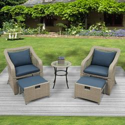 Patio Furniture Sofa Set, 5 Piece Outdoor Conversation Sets with 2 Cushioned Chairs, 2 Ottoman, Glass Table, PE Wicker Rattan Outdoor Lounge Chair Chat Bistro Set for Backyard, Porch, Garden, LLL326