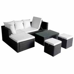 Dilwe Home Lounge Set, Outdoor Lounge Set,4pcs Garden Lounge Set with Cushions Poly Rattan Black for Home Outdoor Patio Balcony
