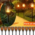 """(10 Pack) Solar Lights 99 LED Flickering Flame Solar Torches Lights 43"""" Waterproof Outdoor Lighting Solar Powered Pathway Lights Landscape Decoration Lighting Auto On/Off for Garden Patio Yard"""