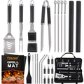 POLIGO 26 PCS BBQ Grill Accessories Stainless Steel BBQ Tools Grilling Tools Set with Storage Bag for Father's Day Birthday Presents - Camping Grill Utensils Set Ideal Grilling Gifts for D