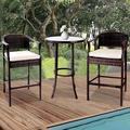 """3 Piece Patio Height Bar Set with Table and Chairs, Outdoor Bistro Set, 27.56"""" Bistro Dining Table and 2 Cushioned Chairs, Patio Furniture Sets Suitable for Yard, Balcony, Garden, and Side, B18"""
