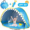 Ottoy Baby Beach Tent Pool, Shark Pop Up Portable Sun Shelter Tent with Pool UPF 50+ UV Protection & Waterproof Sun Tent Beach Shade Baby Pool Tent for Toddler Infant Aged 0-4
