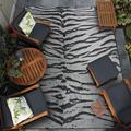 Couristan 4' x 6' Gray Animal Print Dolce Bengal Ivory Outdoor Rug