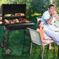 30'' BBQ Grills with Temperature Gauge and Metal Grates, Backyard Barrel BBQ Grill Smoker with Metal Shelf, Charcoal Grill with 2 wheels for Patio Picnic, Cooking Grate for Steak Chicken, SS1064