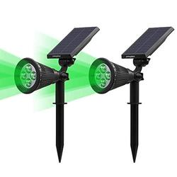 Youqian Solar Powered LED Spot Light 2 in 1 Waterproof IP65 Outdoor Security Garden Landscape Lamps, 4 LED Solar Wall Light Security Night Lights (2 Pack, Green)