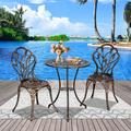 Outdoor Patio Bistro Set, 3-Piece Patio Furniture Sets with Rust-Resistant Small Round Table and 2 Chairs, Cast Aluminum Conversation Set Dining Set for Garden Backyard, Bronze Bistro Table Set, J371
