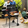 LXingStore 2-in-1 Charcoal Grills, Portable BBQ Charcoal Grill with Smoker, Premium BBQ Grill with Temperature Gauge and Side Shelf, Outdoor Charcoal BBQ Grill w/2 wheels for Patio, Porch, Picnic