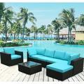 7-Piece Patio Furniture Sets on Sale, SEGAMRT 7-Piece Wicker Patio Conversation Furniture Set w/ Seat Cushions & Tempered Glass Coffee, Wicker Sofa Sets for Porch Poolside Backyard Garden, S6688