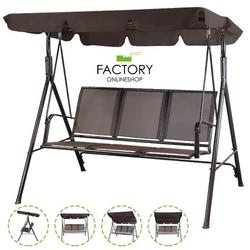 Geniqua Outdoor Patio Swing Chair Lounge 3-Person Seats Canopy Garden Poolside Hammock