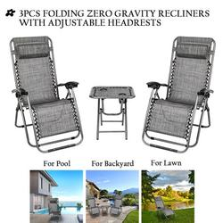 Zero Gravity Chairs and Table with 2 Cup Holder Set, 3 Pieces Adjustable Folding Lounge Recliners with Head Rest Pillow, Lounge Chair Outdoor for Garden Yard Beach Pool, Support 350lbs , Q1542
