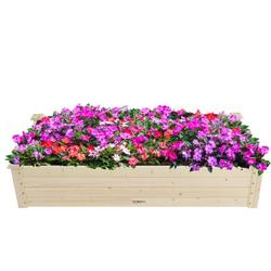 Raised Garden Bed Wood Planter Box Elevated Planting Container for Vegetable Flower Planter Raised Beds Outdoor Garden Bed for Backyard Patio Lawn Balcony Easy Assembly 48''x24''x10''