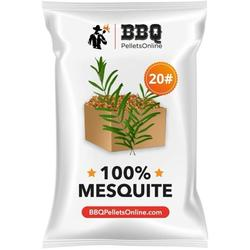 BBQPelletsOnline 100% Mesquite All Natural Amish-Made BBQ Pellets - 20 Pounds Perfect for Pellet Smokers, Any Outdoor Grill or Pizza Oven Hot and Strong Smokey Flavor