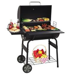30'' Portable Charcoal Grills Smokers, Portable BBQ Barrel Grill, Portable BBQ Grill with Temperature Gauge and Metal Grates, Outdoor 8-in-1 BBQ Grill w/2 wheels for Patio, Porch, Picnic, SS1049