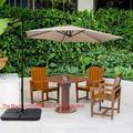 SEGMART Patio Umbrella, Outdoor Umbrella for Patio, 10 FT Outdoor Patio Umbrella with Cross Base, Heavy-Duty Patio Umbrella for Table, Umbrella for Outside/Patio, Easy to Adjust, Taupe, H1912