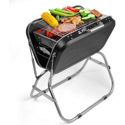 """Charcoal BBQ Grill Outdoor Grill, SEGMART 24"""" Portable BBQ Charcoal Grill Lightweight BBQ Grill, Small Portable Charcoal Grill w/ Handle & Adjustable Grate, Stainless Steel, Easy to Clean, Black, H384"""