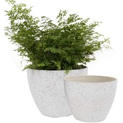 Flower Pots Outdoor Garden Planters, Indoor Plant Pots with Drainage Holes, Speckled White (8.6 + 7.5 Inch)