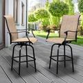 2 Pack Patio Bar Chairs, Outdoor Bar Stools Patio Furniture with Swivel Design, Bar Height Furniture Chair Set for Bar, Kitchen Counter, Garden, Backyard