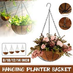2-Pack Hanging Planters Flower Basket Hanging Planter Basket Woven Round Flower Pot Plant Basket Chain Hanging Planter for Indoor Outdoor Home Garden Patio Decor, 10/12/14 inch Round