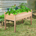 Bestgoods 48x24x30in/3 Tiers Raised Garden Bed Elevated Wood Planter Box Outdoor Raised Wooden Planter Garden Grow Box Kit with Legs for Vegetable Flower Herb Gardening Backyard Patio Natural