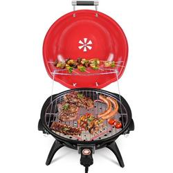 Electric BBQ Grill Techwood 15-Serving Indoor/Outdoor Electric Grill for Indoor & Outdoor Use, Double Layer Design, Portable Removable Stand Grill, 1600W
