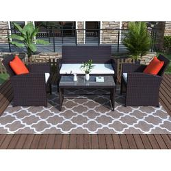 Patio Conversation Sets of 4, BTMWAY All-weather Rattan Outdoor Sofas & Loveseats Patio Furniture Set, Wicker Outdoor Bistro Chair Set w/Cushions for Patio Porch Deck Lawn Gazebo, Dark Brown, R430