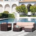 Patio Furniture Sets, 4-Piece Outdoor Sectional Sofa Set with Loveseat and Lounge Sofa, Armchair, Coffee Table, All-Weather Wicker Furniture Conversation Set for Backyard Garden, Q17657