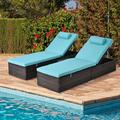 5-Position Adjustable Chaise Lounge Chairs, 2 Pcs Outdoor Patio Lounge Chairs W/ Cushion & Pillow, Lounge Chairs with Shelving Board, Patio Reclining Chair Furniture for Poolside, Deck, Backyard, T173