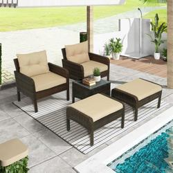 5-Piece PE Rattan Wicker Outdoor Patio Furniture Set with Glass Table Outdoor Patio All-Weather Sofa Durable Outdoor Garden Cushioned Seat with Coffee Table Bistro Table Set for Poolside