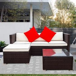 3 Pcs Outdoor Wicker Sofa Set, Pe Rattan Patio Sectional Set, Low Back Small Conversation Sofa with Table and Washable Cushions, Patio Sunroom Furniture Set for Garden Poolside Balcony, JA2364