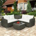 Oaktree 4 Pcs Outdoor Cushioned PE Rattan Wicker Sectional Sofa Set Garden Patio Furniture Set (Beige Cushion)