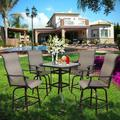 Swivel Bar Stools Set, Outdoor Bar Height Patio Chairs Swivel Stools Set Furniture with All-Weather Metal Frame for Cafes Yard Lawn and Garden (4 Chairs&1 Table)