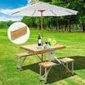 33 Inch Portable Outdoor Camp Table, Foldable Picnic Table with 4 Person Seats Chairs and Umbrella Hole for Home Garden Patio Yard
