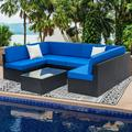 Wicker Patio Furniture Sets, 7 Piece Outdoor Conversation Set with Coffee Table and Patio Sofa, All-Weather Black Rattan Sofa Sectional Furniture Set, Outdoor Dining Set for Backyard, Poolside, W2227