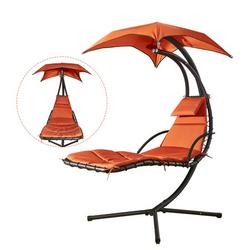 Hanging Chaise Lounge Chair Canopy Floating Chaise Lounger Swing Hammock Chair, for Patio, Garden, Deck and Poolside