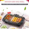 Meterk Smoke-less BBQ Grill Electric Griddle Removable Grill Temperature Control Height Adjustable for Indoor Outdoor BBQ