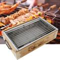 Mgaxyff Barbecue Grill,Household Outdoor Barbecue Grill Portable Square Barbecue Cooking Tools Charcoal Baking Tray, Outdoor Barbecue Grill