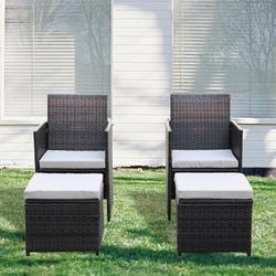 enyopro 4PCS Patio Wicker Conversation Sets, Outdoor Furniture Set with Arm Lounge Chair and Ottomans, Accent Chairs with Ottomans Set for Living Room, Garden, Balcony, Backyard, K3436
