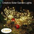 Solar Lights Outdoor, EpicGadget 105 LED Solar Lights String Lights for Garden Decoration Waterproof Fireworks Modeling Lighting Fiber Optic DIY Light Outdoor Christmas Lamp - Warm White (2 Pieces)