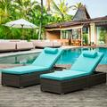 Chaise Lounge Set of 2, Outdoor Lounge Chairs with 5 Backrest Angles and Cup Holder, Chaise Lounge Chairs with Head Pillows, Patio Reclining Chair Furniture for Poolside, Deck, Backyard, JA2922