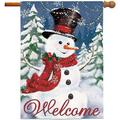 Christmas Flags 28x40 Double Sided, Snowman Burlap Garden Flags, Welcome Christmas Tree Snowflake Winter Yard Flag Primitive Vintage Home Decor