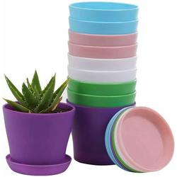 Cribun Plant Pots, 8 Pack Plastic Flower Pots Outdoor Garden Planters with Multiple Drain Holes and Saucer -4.7 inch Indoor Small Plant Pots for All Home, (Random Color)