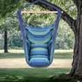 Padded Cotton Hammock Hanging Chair with Pillows, Hanging Rope Hammock Chair Swing Seat for Indoor Outdoor, Patio Porch Garden Beach Camping Hanging Swing Chair with Durable Spreader Bar, Blue, Q9289
