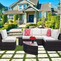 New 6 Pieces Outdoor Patio Furniture Set, Wicker Rattan Patio Furniture Sofa Patio Rattan Wicker Sofa With Glass Coffee Table And Comfortable Cotton Cushions Outdoor Furniture Patio Set(Brown)